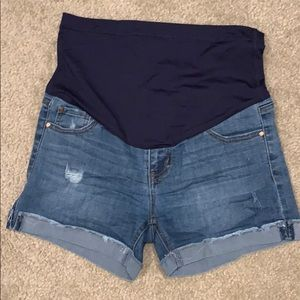 Maternity PinkBlush jean shorts